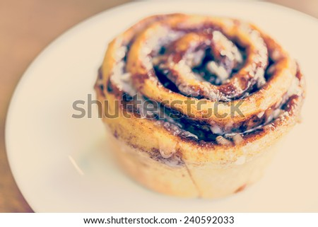 cinnamon roll - vintage  art effect style picture - stock photo
