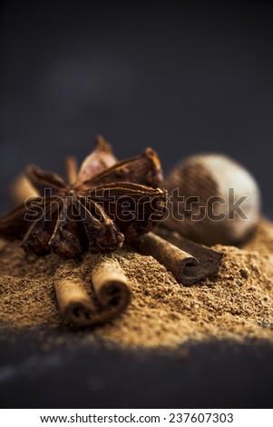 Cinnamon,  star anise and nutmeg - stock photo