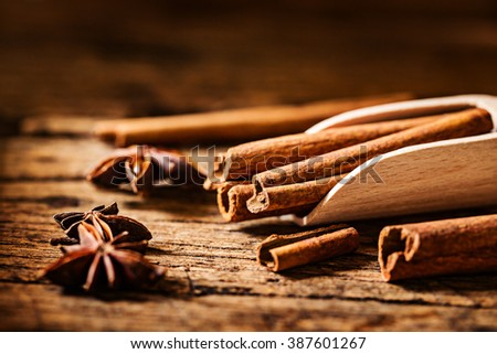 cinnamon stick on grunge wooden table. - stock photo