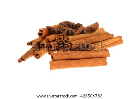 Cinnamon sticks and star anise spice isolated on white background  - stock photo