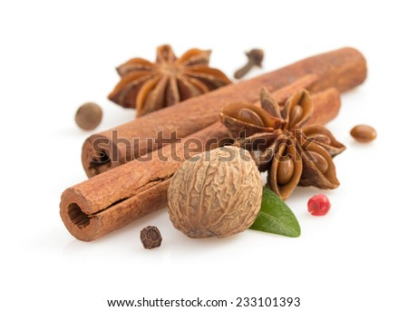 cinnamon sticks, anise star and spices on white background - stock photo