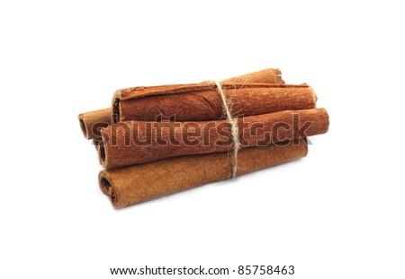 Cinnamon sticks studio isolated on white background - stock photo