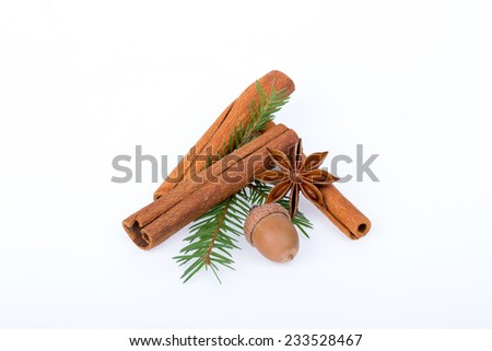 Cinnamon sticks with fir branches, acorns and star anise on white background - stock photo