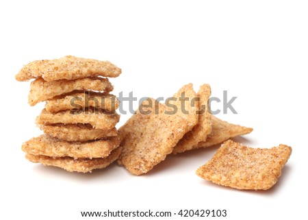 Cinnamon toast crunch on white background - stock photo
