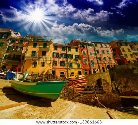 Cinque Terre. Beautiful view of the port with boats and colourful homes. - stock photo