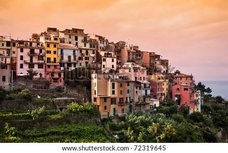 Cinque Terre, Italy. Corniglia village. - stock photo