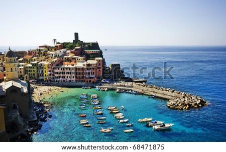 Cinque Terre, Italy. Vernazza fishermen village. - stock photo