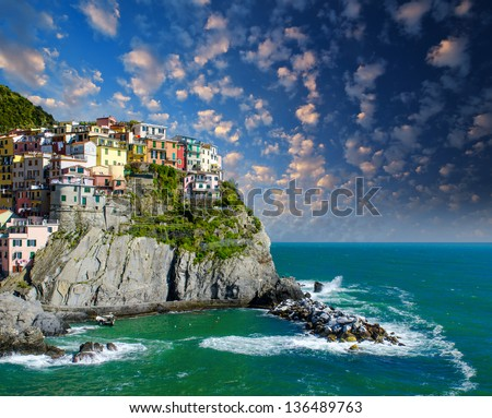 Cinque Terre, Italy. Wonderful landscape in Spring Season. - stock photo
