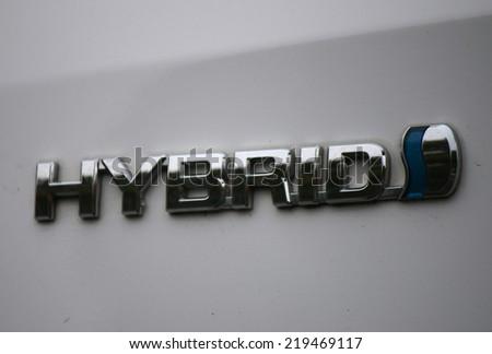 "CIRCA AUGUST 2014 - BERLIN: the logo of the brand ""Hybrid"", Berlin. - stock photo"