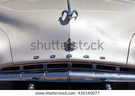 Circa, Circa, June 12, 2016: Vintage Dodge car front. Dodge is an American brand of cars, minivans, and sport utility vehicles manufactured by FCA US LLC. - stock photo