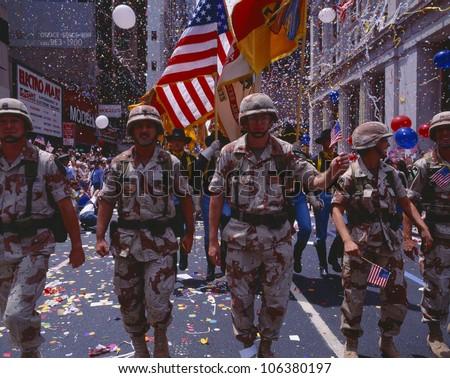 CIRCA 1991 - Desert Storm Victory Military Parade, Washington DC - stock photo