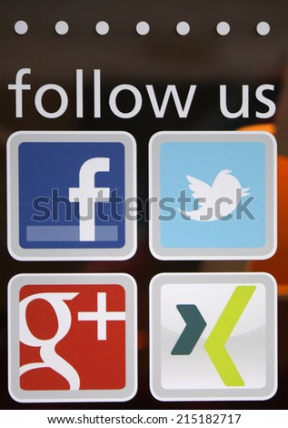 "CIRCA JULY 2014 - FRANKFURT: the logo of the brand ""Facebook"", ""Twitter"", ""Google plus"" and ""Xing"", Frankfurt am Main, Germany. - stock photo"