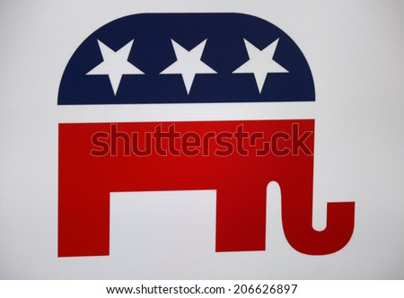 "CIRCA JUNE 2014 - BERLIN: the logo of the political party ""Republicans"" (USA). - stock photo"