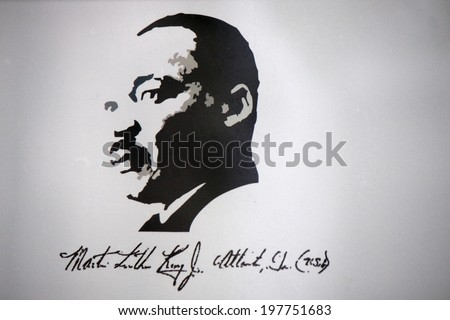 CIRCA MAY 2014 - BERLIN: a portrait of Martin Luther King at the Sophienkirche, Berlin-Mitte. - stock photo