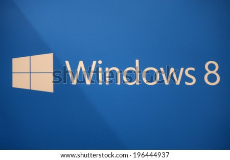 "CIRCA MAY 2014 - BERLIN: the logo of the brand ""Windows 8"", Berlin. - stock photo"