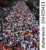 CIRCA 1992 - This is the 17th Marine Marathon. There were about 13,000 runners. It took place in Rosslyn, Virginia. - stock photo