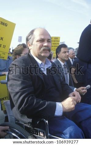 CIRCA 1991 - Vietnam Veteran Ron Kovic attending Anti-War Protest, Los Angeles, California - stock photo