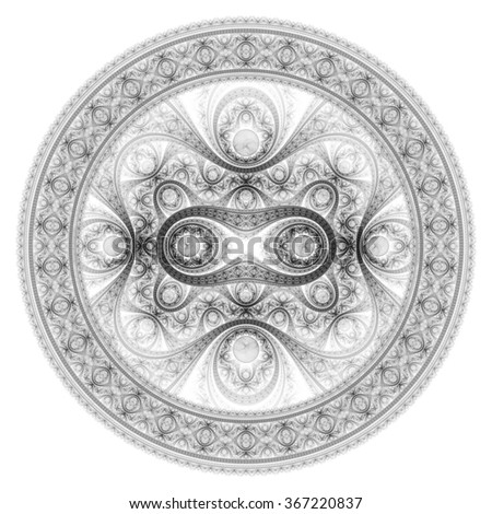 Circle design. Abstract fractal pattern, symmetric royal black and white background with diamonds.  - stock photo