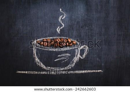 circle drawn with chalk on black coffee - stock photo