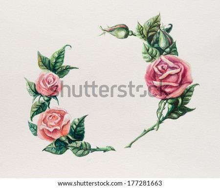 Circle frame from roses. Wedding drawings.  Greeting cards. Roses background, watercolor composition. Flower backdrop. Decoration with blooming roses, hand-drawing. Place for your text. - stock photo