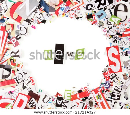 Circle frame with letters from newspapers on white - stock photo