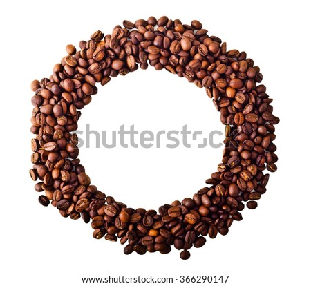 Circle from Coffee beans isolated on white background - stock photo