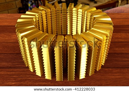 circle heap of a gold bars on the planks, 3d rendering - stock photo