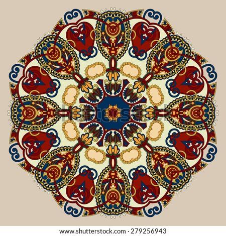 Circle lace ornament, round ornamental geometric doily pattern, beige color, raster version - stock photo
