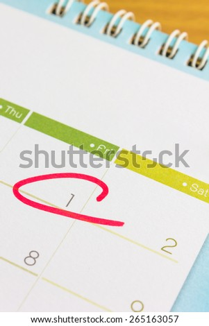 Circle mark on  calendar at the first day of mouth - stock photo