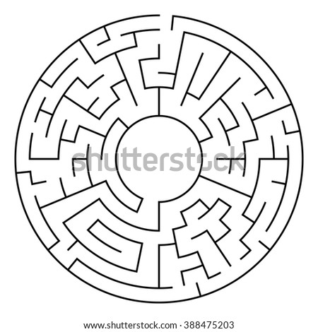 Circle Maze. Labyrinth with Entry and Exit. Find the Way Out Concept. Transportation. Logistics Abstract Background Concept. Transportation and Logistics Concept. Raster Illustration. - stock photo