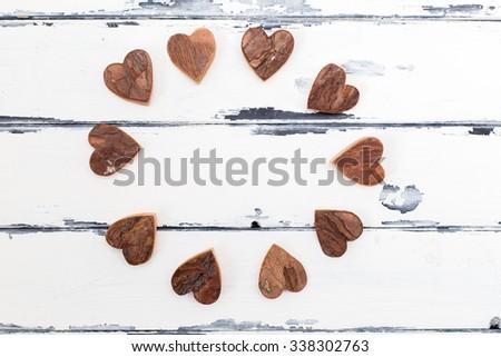 circle of bark shaped as hearts - stock photo