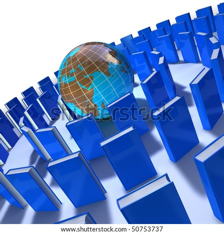 circle of blue books around the world on white background - stock photo