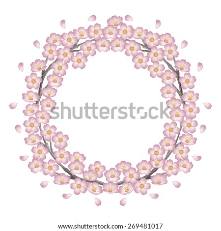 Circle of cherry blossoms. Pink. / Spring frame. The abstract shape. - stock photo