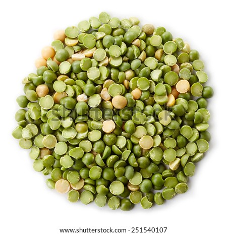 Circle of green split peas isolated on white background - stock photo