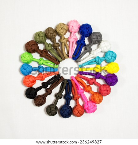 Circle of Paracord balls 01 - stock photo