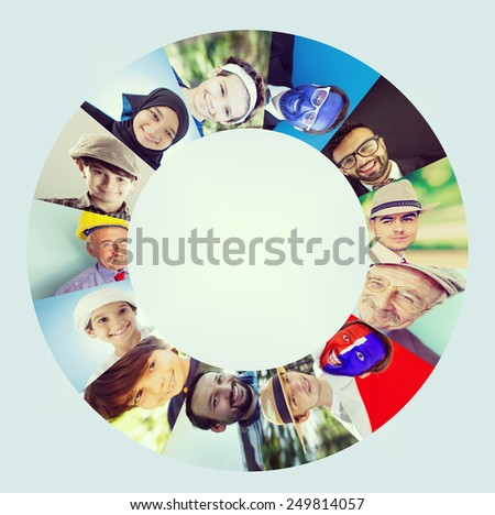 Circle of people faces - stock photo