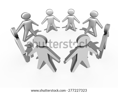 Circle of people in 3d on white background - stock photo