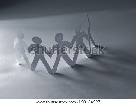 Circle of people with clipping path - stock photo