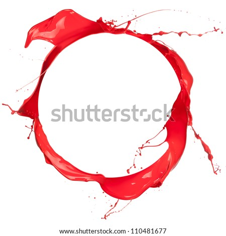 Circle of red paint with free space for text, isolated on white background - stock photo