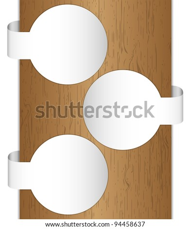 Circle pattern brochure brown tone with wood texture. - stock photo
