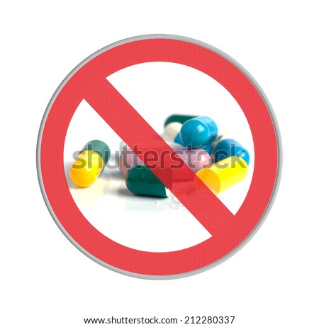 Circle prohibited sign drugs allowed isolated on white background  - stock photo