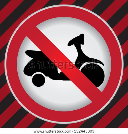 Circle Prohibited Sign For No Motorcycle or No Parking Sign in Caution Zone Dark and Red Background - stock photo