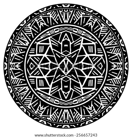 Circle reminiscent of the Aztec calendar - stock photo