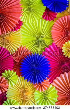 circle shape of origami papers - stock photo