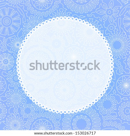 Circle white frame on lacy background card in blue. Raster version, editable vector file also available at my port. - stock photo