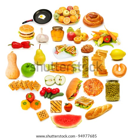 Circle with lots of food items - stock photo