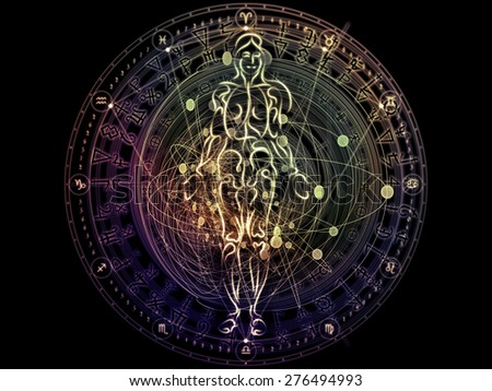 Circles of Destiny series. Composition of astrology symbols, human lines, circles and design elements on the subject of astrology,magic, witchcraft and fortune telling - stock photo
