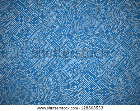 Circuit board blue abstract background - stock photo