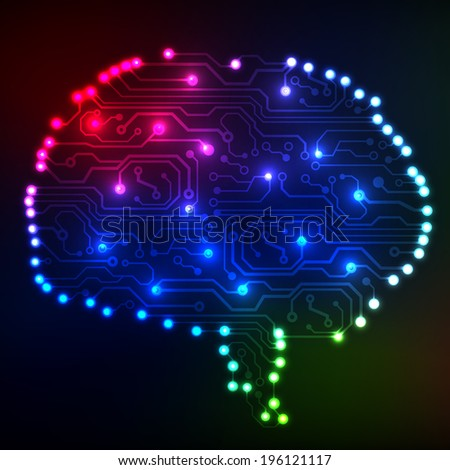 Circuit board computer style brain technology background. Bitmap illustration. - stock photo