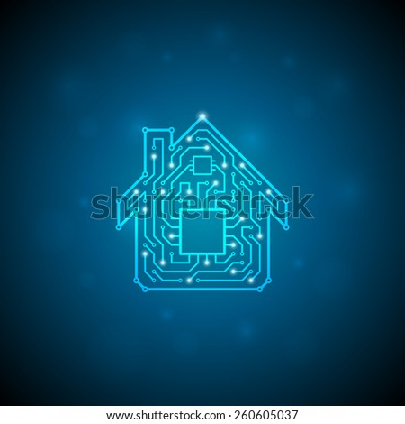 Circuit board house icon. Home automation concept. - stock photo
